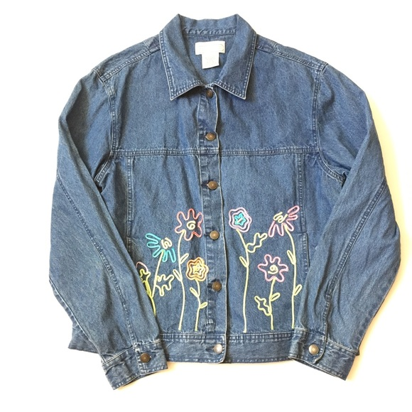 RARE 70/'s Women/'s Jean Jacket with Hood and Belt Floral Quilted Coat Vintage Size Medium